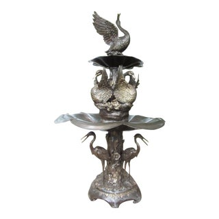 Bronze Two-Tier Fountain With Egret Base For Sale