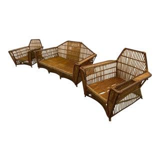American Split Reed Art Deco Circa 1920s Stick Wicker Furniture - Set of 3 For Sale
