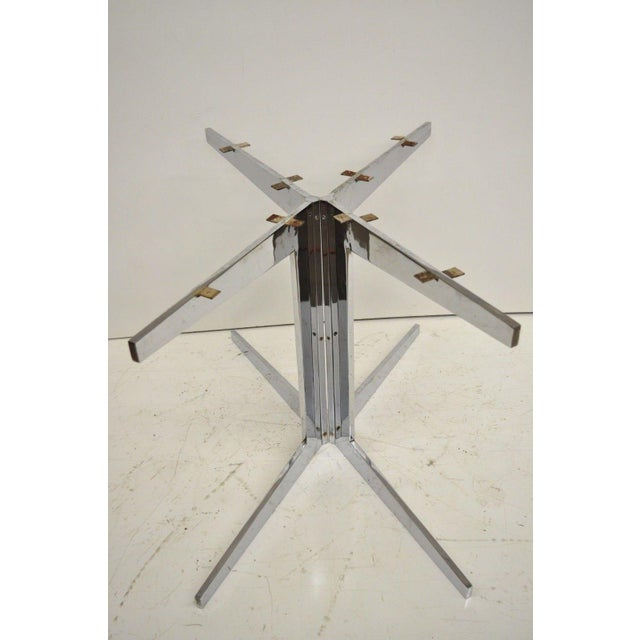 Mid 20th Century Mid-Century Modern Chrome Steel Double Star Pedestal Dining Table Bases - a Pair For Sale - Image 5 of 13