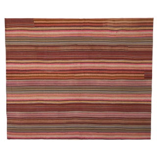 Vintage Turkish Jajim Kilim Flat-Weave Striped Area Rug - 12′7″ × 15′2″ For Sale