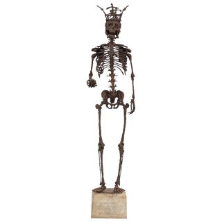 Mid Century Wrought Iron Skelton Statue For Sale