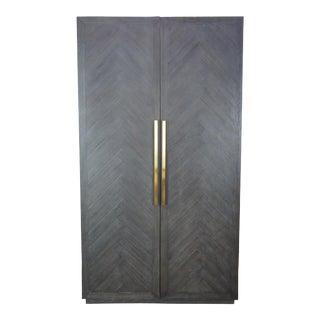 Restoration Hardware Herringbone Double Door Linen Press China Cabinet Armoire For Sale