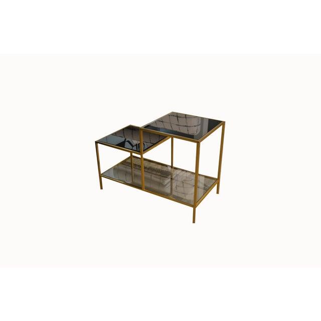Metal Vintage Gilt Metal End Table With Smoked Glass, France, C.1970 For Sale - Image 7 of 7
