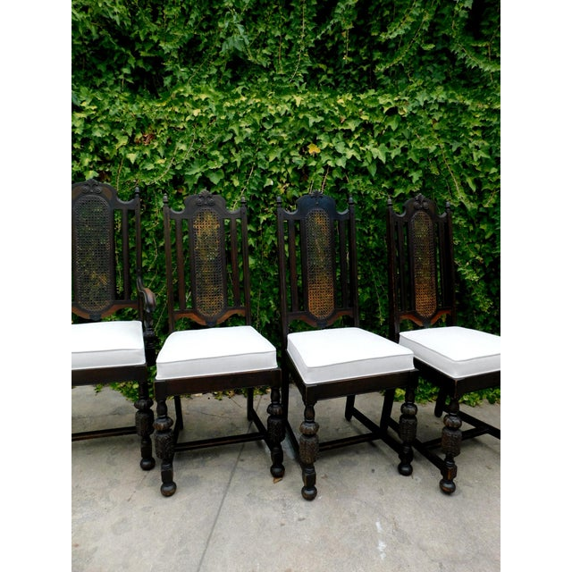 Vintage Spanish Style Cane Back Chair For Sale In San Francisco - Image 6 of 8