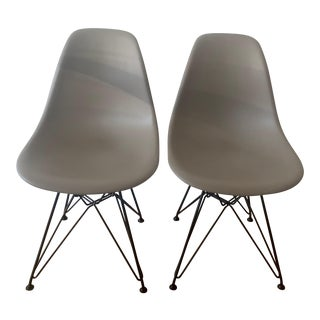 Eames Molded Plastic Side Chairs Wire Legs - A Pair For Sale