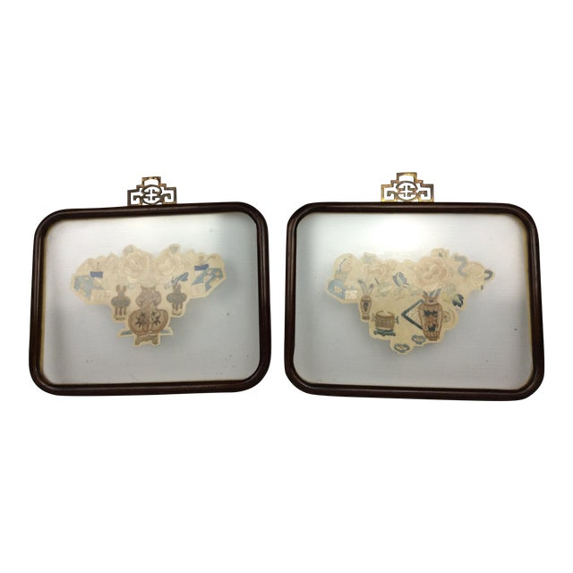 19th Century Chinese Framed Embroidery - A Pair For Sale