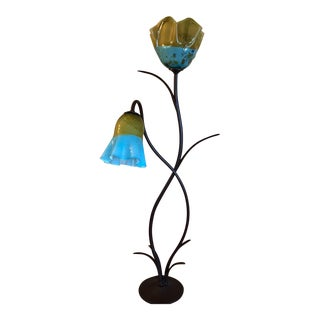 Yellow and Blue Two Light Mexican Glass Flores Floor Lamp For Sale