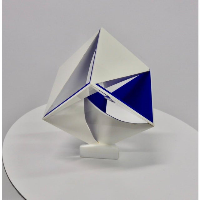 Blue Blue and White Desk Top Lucite Cube Geometric Sculpture For Sale - Image 8 of 10