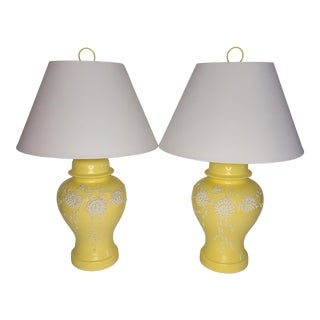 Yellow Moriage Lamps With Shades For Sale