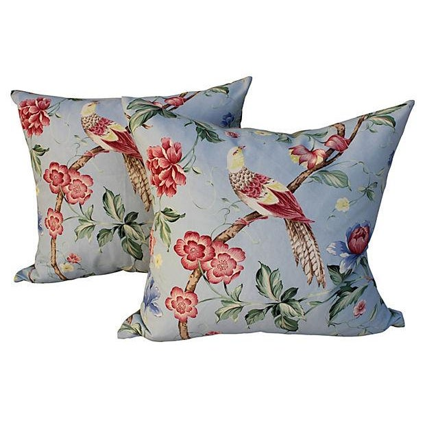 Scalamandre Floral & Bird Chinoiserie Pillows - a Pair - Image 1 of 6