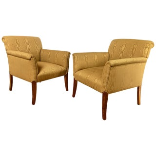 Midcentury Neoclassical Style Moire Faux Bois Lounge Accent Chairs, Pair For Sale