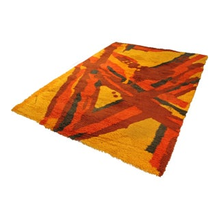 Mid-Century Danish Modern Retro Orange Shag Rug For Sale