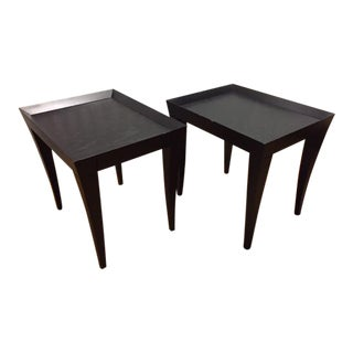 Black Wood Side Tables - A Pair