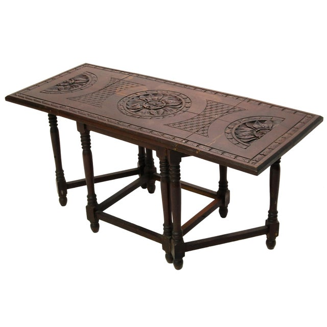 Folding Mahogany Side Table w/Floral Hand Carving - Image 1 of 4
