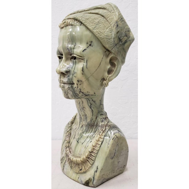 Marble Sculpture of a Young African Woman by Kakweza For Sale In San Francisco - Image 6 of 6
