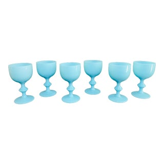 1930s Antique French Blue Opaline Glass Wine Goblets by Portieux Vallerysthal - Set of 6 For Sale