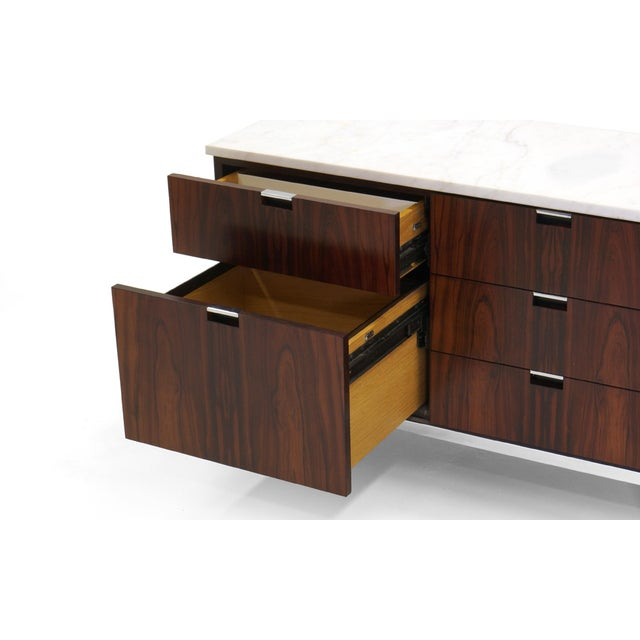 Exceptional Florence Knoll Marble-Top Rosewood Credenza - Image 7 of 9