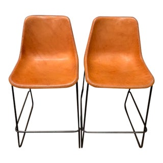 Jayson Home Fernando Leather Bar Stools- A Pair For Sale