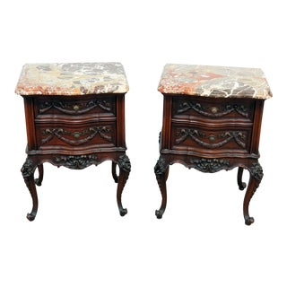 20th Century Louis XV Marble Top End Tables - a Pair For Sale