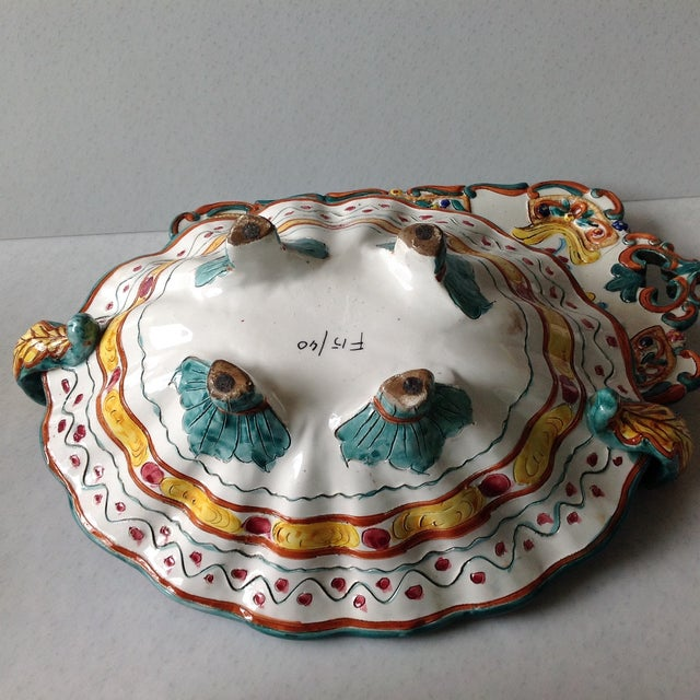 Hand-Painted Majolica Pottery Bowl & Tray - Image 11 of 11