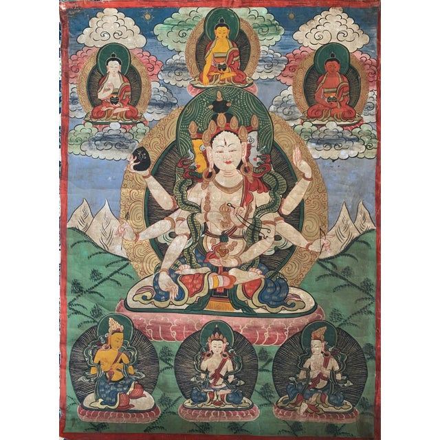Early 20th Century Tibetan Ceremonial Thangka Painting For Sale - Image 4 of 4
