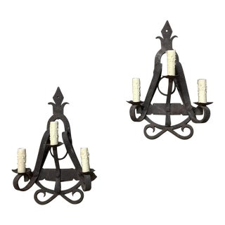 Early 20th Century Country French Wrought Iron Wall Sconces-a Pair For Sale