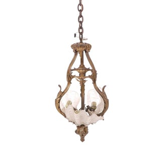 Art Nouveau Gilt Bronze & Shell Form Glass Shade Chandelier For Sale
