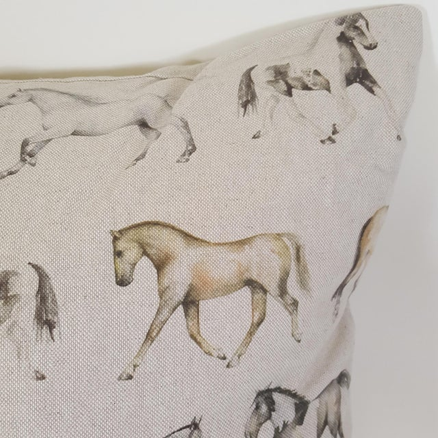 Cottage Horses Accent Pillow For Sale - Image 3 of 13