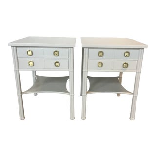 1970s Regency Faux Bamboo Modernist Nightstands - a Pair For Sale