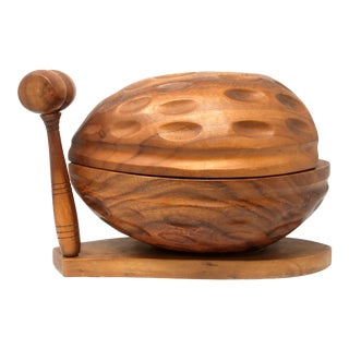 Large Carved Walnut-Shaped Nut Cracking Bowl and Utensils