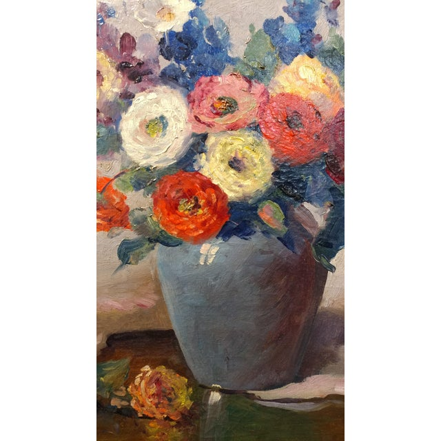 Nell Walker Warner- Large Floral Still Life -Beautiful Oil painting -Impressionist c1920s For Sale - Image 5 of 10