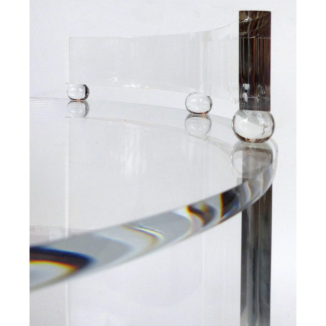 Tall Round Custom Lucite & Glass Bar Cart on Casters For Sale In Miami - Image 6 of 8