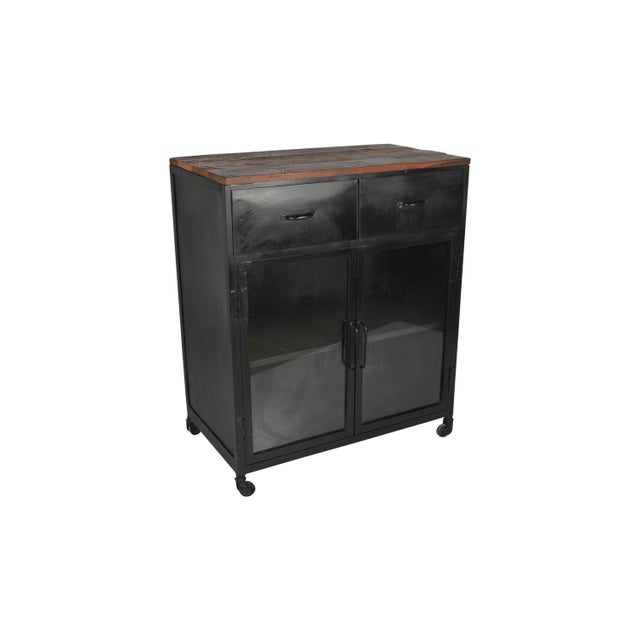 Add stylish storage to your home with this glass door cabinet. With two shelves and plenty of space, this cabinet adds...