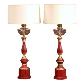 Pair of French Napoleon III Painted Tole Brass and Cut-Glass Table Oil Lamps For Sale