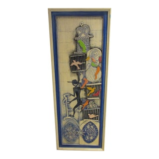 Jeanne Valentine Papier-Mache Hand Painted Panel of a Bicyclist With Bird Cages on His Bike For Sale