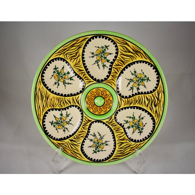 Ceramic French Faïence Fouillen Quimper Floral Oyster Plate For Sale - Image 7 of 7