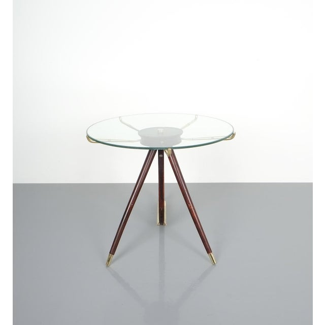 Brass Brevettato Wood Brass Coffee or Side Table, Italy 1955 For Sale - Image 7 of 12
