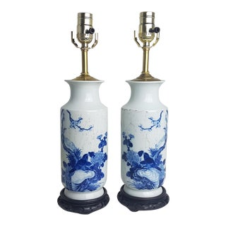 Vintage Chinese Blue & White Vase Lamps - a Pair For Sale