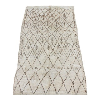 Vintage Beni Ourain Moroccan Ivory and Brown Berber - 5′10″ × 10′5″