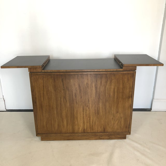 Drexel Campaign Fruitwood & Brass Bar Cabinet For Sale - Image 11 of 13
