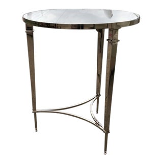 Neoclassical Global Views Mirrored Polished Side Table For Sale