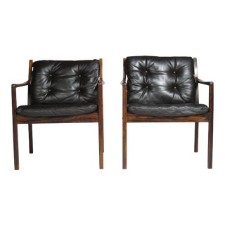 Ole Wanscher Rosewood Lounge Chairs in Original Leather For Sale