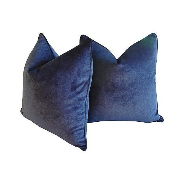 Early 21st Century Custom Tailored Midnight Blue Velvet Feather/Down Pillows - Pair For Sale - Image 5 of 6