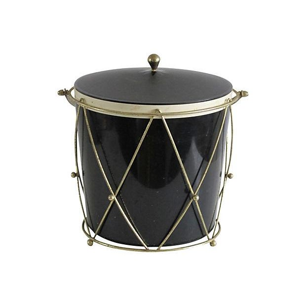 Black Plastic Drum-Style Ice Bucket & Caddy - Image 4 of 4