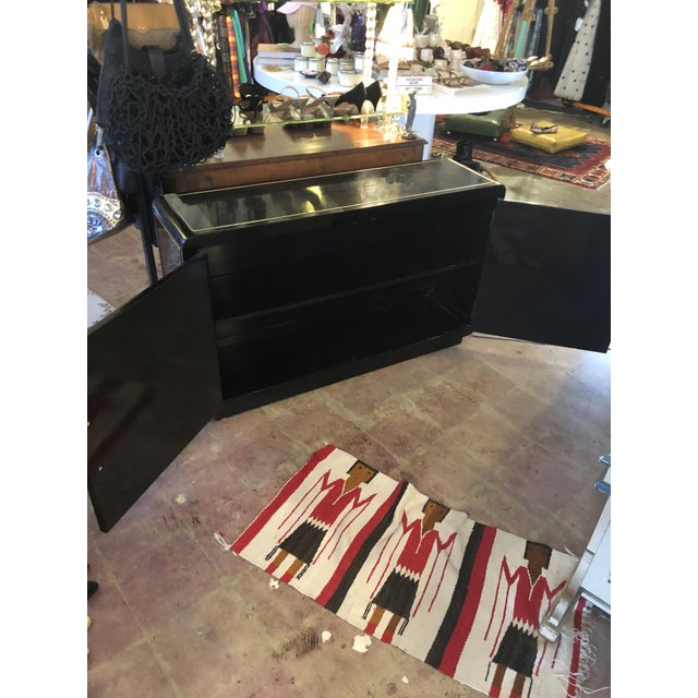 Black Lacquer Mastercraft Console Cabinet For Sale - Image 6 of 13