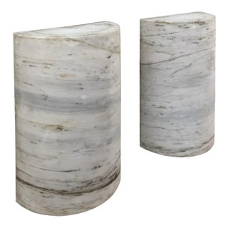 Pair Antique Solid Marble Half-Columns ~ Pedestals For Sale