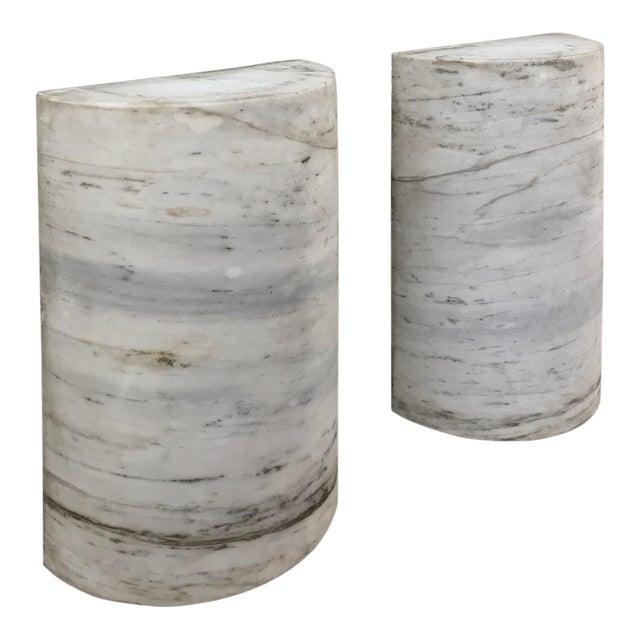 Pair Antique Solid Marble Half-Columns ~ Pedestals For Sale