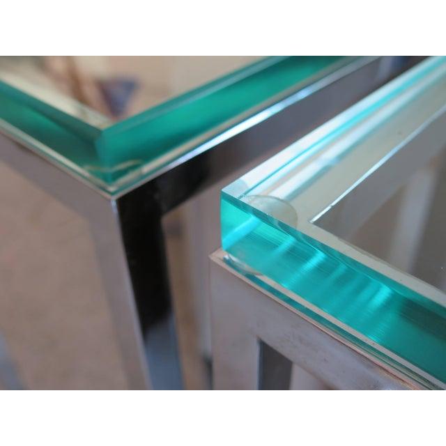 Milo Baughman 1970s Modern Tall Chrome Pedestal Tables - a Pair For Sale - Image 4 of 8