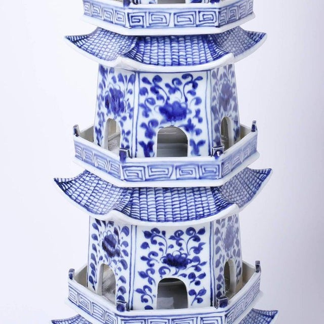 Chinese Blue and White Porcelain Pagodas - a Pair For Sale - Image 9 of 13