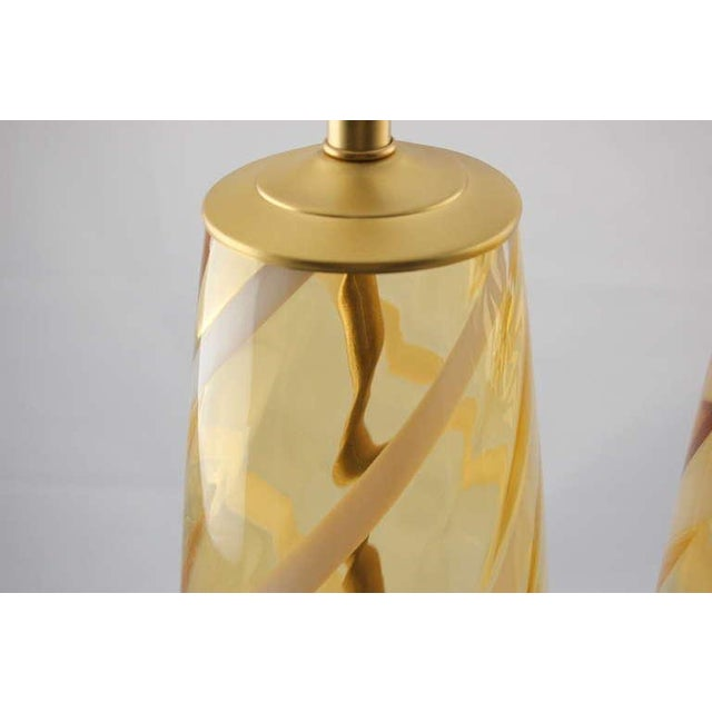 Vintage Venetian Glass Table Lamps Yellow For Sale In Little Rock - Image 6 of 8